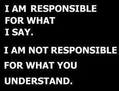 I am responsible for what I say. I am not responsible for what you understand. Big Bang Theory