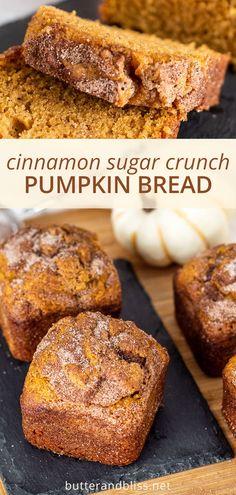 Moist Pumpkin Bread, Cinnamon Bread, Baked Pumpkin, Pumpkin Recipes, Fall Recipes, Sweet Recipes, Mini Loaf Pumpkin Bread Recipe, Mini Bread Loaves, Deserts