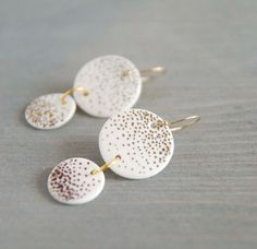 Minimalist porcelain earrings - dangle earrings, disc earrings, modern porcelain jewelry, ceramic jewelry, gold - gift for her