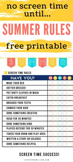 Beat summer boredom with this Summer rules for kids FREE printable. A great summer rules no screen time until chart checklist for electronics use in your home. Kids Summer Schedule, Summer Checklist, Summer Fun For Kids, Summer Activities For Kids, Free Kids Activities, Daily Schedule Kids, Kids Checklist, Cool Ideas, Low Key
