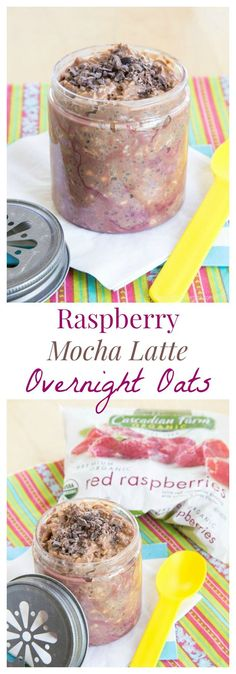 Raspberry Mocha Latte Overnight Oats - an easy make-ahead breakfast with indulgent coffee and chocolate flavor, but is healthy and packed with superfoods. #AD | http://cupcakesandkalechips.com | gluten free recipe