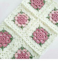with ・・・ - ala_baft Crochet Quilt, Crochet Blocks, Crochet Motif, Crochet Doilies, Crochet Yarn, Crochet Flower Tutorial, Crochet Flower Patterns, Crochet Stitches Patterns, Knitting Patterns