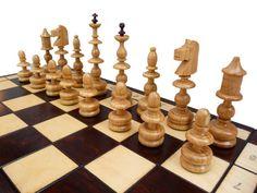 Stylish Wooden Chess Set - Handmade 58x58cm Copper Incrustation!