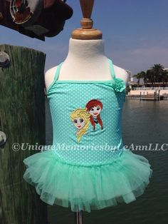 Frozen inspired Elsa and Anna tutu bathing suit Sea-foam green with white polka-dots - You choose appliqué Design by UniqueMemoriesLeAnn on Etsy