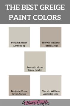 indoor paint colors Gray and beige have been extremely popular but greige paint colors are the best of both! These are the most popular greige colors. Best Greige Paint Color, Taupe Paint Colors, Indoor Paint Colors, Exterior Paint Colors, Paint Colors For Home, Gray Paint, Ceiling Paint Colors, Exterior Design, Gray Color