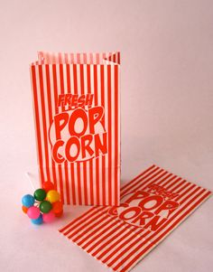 Set of 50 Vintage Inspired Popcorn Bags by CinamonGirl on Etsy