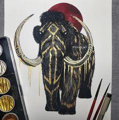 Mythology and Fantasy in Animal Paintings Dark Art Drawings, Cool Drawings, Creature Drawings, Animal Drawings, Mononoke, Illustration Art, Illustrations, Viking Art, Wow Art