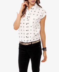 Boxy Cross Print Button Up | FOREVER21