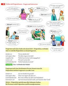 Verben mit Präpositionen, Fragen
