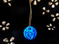 turquoise necklace with golden chain by bitlucks on Etsy, $16.50