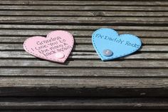 20  x Personalised magnetic wooden hearts with your by scratchycat, £22.50