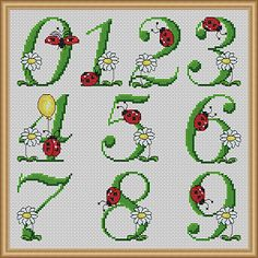 Summer Birthday Numbers - Cross Stitch Patterns - Instant Download