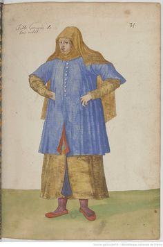 30. Fille Grecque de bas estat Bnf, Eastern Europe, 16th Century, Les Oeuvres, Medieval, Costumes, Miniatures, Artwork, Pictogram