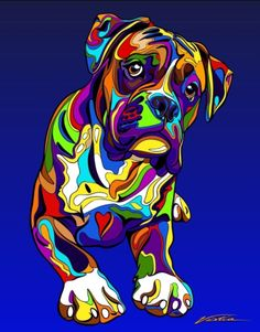Multi-Color Boxer Matted Prints & Canvas Giclées. Hand painted and printed in USA by the artist Michael Vistia. #Dog Breed: The Boxer is a breed of medium-sized, short-haired dogs developed in Germany.