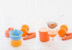 paso a paso zumo de naranja y zanahoria, bajo en calorías