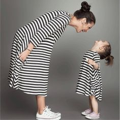 White Black Striped Dresses for Mother Daughter Family Matching Outfits  Couple Look Kids Parent Clothes Kids Christmas Clothing  Price: 2.23 USD