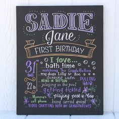 "16""x20"" canvas, The Original Favorite Things Poster, first birthday chalkboard, purple, green [Sadie Jane]"
