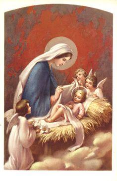 postal religiosa antigua de la Virgen y Jesus