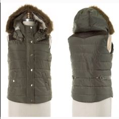 NWT Sage Hooded Puffer Vest NWT Sage Sherpa Hooded Vest. Dark sage tones, fully lined with a cozy sherpa lining, and faux fur trimmed hood. Quilted puffer vest outer with zipper and snap closures in gold tones. Leather-like shoulder detailing that extends across back shoulders. 100% polyester. Removable adjustable hood and soft side pockets. Fits true to size, fitted. S(0-2), M (4-6) 🚫No Trades and No Paypal🚫 XS will be marked a small, but fits like a 0-2, so will fit XS. Jackets & Coats…