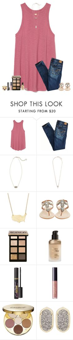 """""""""""Mistakes are proof that you're trying."""" -Cara Delevingne"""" by maggie-prep ❤ liked on Polyvore featuring American Eagle Outfitters, Kendra Scott, Topshop, Moon and Lola, Antik Batik, Bobbi Brown Cosmetics, Too Faced Cosmetics and tarte"""