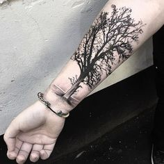 Tree Tattoo Design on Forearm.What a cool tattoo design idea! Love it very much! This will be my next tattoo design. via http://forcreativejuice.com/awesome-forearm-tattoo-designs/ #FlowerTattooDesigns