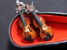 Violin Earrings with Box Miniblings 2 Violins Music Orchestra Viola. €19,99, via Etsy.