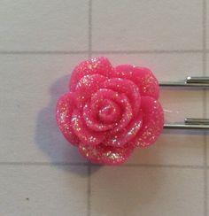Planner Pins - Hot Pink Rose with Glitter Hot Pink Rose with Glitter Resin Paper Clip | Cute Bookmark | Planner Clip | Organizer |Calendar