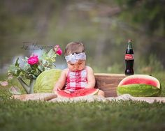 Watermelon smash, cake smash, baby girl first birthday