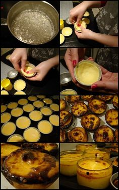 Pastel de nata_ almost a custard pie Portuguese Egg Tart, Portuguese Desserts, Portuguese Recipes, Portugese Custard Tarts, Unique Recipes, Sweet Recipes, Natas Recipe, Delicious Desserts, Yummy Food
