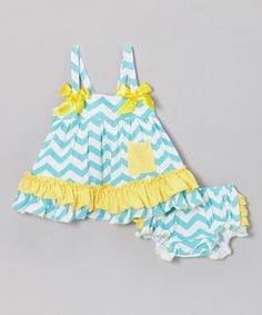Take a look at this Blue & Yellow Zigzag Swing Top & Bloomers - Infant by Tutus by Tutu AND Lulu on #zulily today!