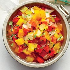 Three-Pepper Chowchow: Slightly sweet, this pretty relish will transform tacos or a bowl of rice and beans.