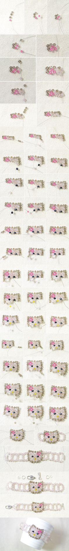 Tutorial on How to Make a Hello Kitty Charm Bead Bracelet for Kids from LC.Pandahall.com                        #pandahall