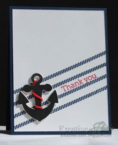 handmade thank you card from Kreative Kristie . ocean them with rope lines and focal point anchor . black and white with pops of red . Nautical Cards, Nautical Theme, Military Cards, Tarjetas Pop Up, Handmade Thank You Cards, Beach Cards, Paper Smooches, Scrapbook Cards, Scrapbook Layouts