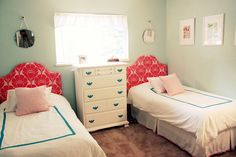 POIFECT colors. Coral and seafoam. LOVE little girls' shared rooms. Something about two twin beds.