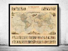 Vintage World Map Antique Atlas 1900 folklore map by OldCityPrints