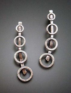 Four Circles Sterling Silver Drop Earrings