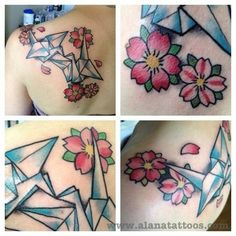 Paper Cranes and Cherry Blossoms tattooed by Alana Robbie at Sacred Rose Tattoo in Berkeley, CA  www.alanatattoos.com