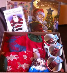 Christmas Eve box :) Hatley pj's were new but everything else we just had around the house! The boys absolutely loved this!