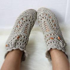 Crochet linen shoes / Обувь ручной работы. Ярмарка Мастеров - ручная работа. Купить Льняные полусапожки. Handmade. Бежевый, полусапожки вязаные, лен натуральный