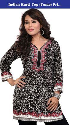 09b771bcb59 Indian Kurti Top (Tunic) Printed Womens Blouse India Clothes (Black/Red,