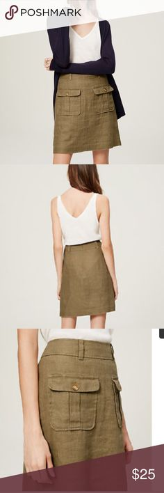 Loft  Safari skirt hard to find Size 10 linen fully lined khaki green/brown beautiful finished skirt. EXTREMELY HARD TO FIND, is a bit too narrow for me. My loss your gain! Buy quick, google it, you won't find it there or on PM LOFT Skirts