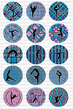 INSTANT DOWNLOAD -- Gymnastics no.3 -- 1 inch circle 4x6 Digital Bottle Cap Collage