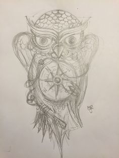 Owl tattoo with compass and key  Sketch by MaxJR
