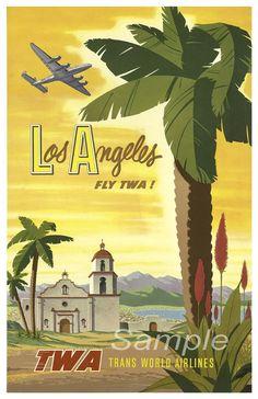 Vintage Los Angeles TWA Travel Poster Print