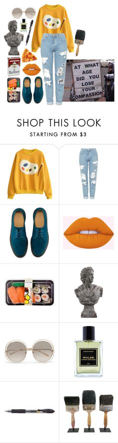 """""""you may be good looking, but you're not a piece of art"""" by parker-jane ❤ liked on Polyvore featuring Topshop, Dr. Martens, Lime Crime, Urban Trends Collection, Chloé and Jardins D'Écrivains"""