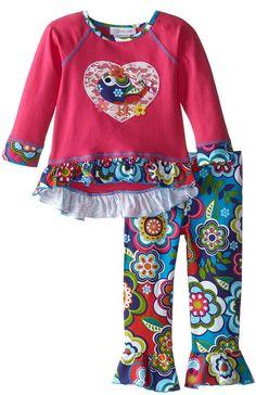 Bonnie Jean Little Girls' Lovebird Appliqued Playwear Set, Pink, 5. 2 piece set. Hi low hem top. Lovebird applique.