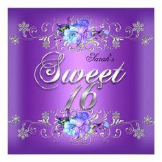 428 best blue purple birthday party invitations images on pinterest sweet 16 sweet sixteen white purple flowers invitation filmwisefo