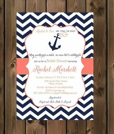 bridal wedding shower invitation with a nautical theme and colors navy gold and coral