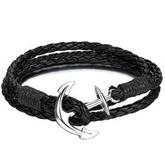 Anchor Bracelet Nautical Black Paracord Silver Anchor - Twining Weave Anchors Rope Bracelet * Click image to review more details.
