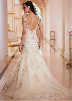 Charming Organza V-neck Natural Waistline Mermaid Wedding Dress
